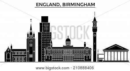 England, Birmingham architecture vector city skyline, black cityscape with landmarks, isolated sights on background