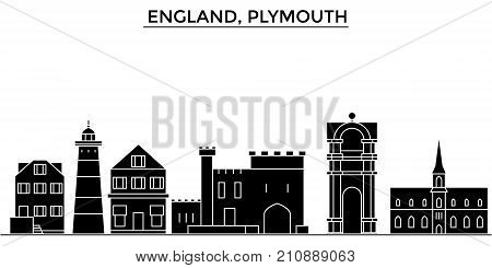 England, Plymouth architecture vector city skyline, black cityscape with landmarks, isolated sights on background