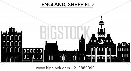 England, Sheffield architecture vector city skyline, black cityscape with landmarks, isolated sights on background