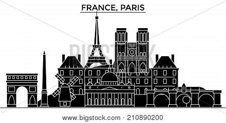 France, Ile De France, Paris architecture vector city skyline, black cityscape with landmarks, isolated sights on background