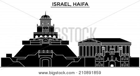 Israel, Haifa architecture vector city skyline, black cityscape with landmarks, isolated sights on background