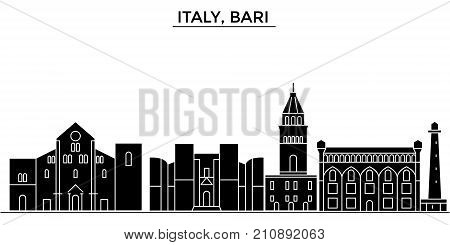 Italy, Bari architecture vector city skyline, black cityscape with landmarks, isolated sights on background