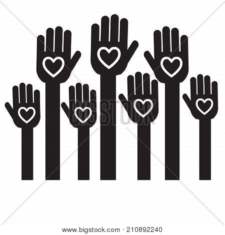 Hands with hearts Volunteer Charity and Relief Work Separation Icon