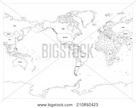 World map country border outline on white background. With country name labels. America centered map of World. Vector illustration.