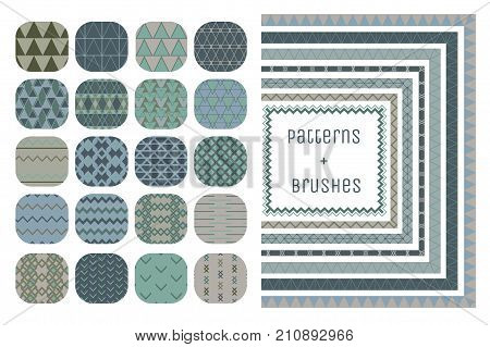 Collection of 20 Colorful Geometric Seamless Patterns and 7 Flexible, Color, Size and Shape adjustable Pattern Brushes with outer and inner tiles. Vector Illustration. Ornamental Repeating Backgrounds