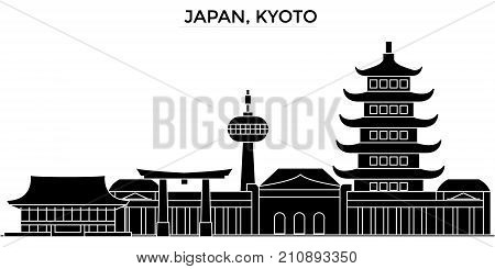 Japan, Kyoto architecture vector city skyline, black cityscape with landmarks, isolated sights on background