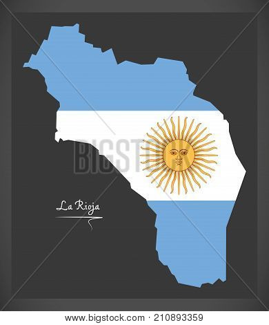 La Rioja Map Of Argentina With Argentinian National Flag Illustration