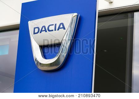 Prague, Czech Republic - October 25: Dacia Company Logo On Dealership Building On October 25, 2017 I