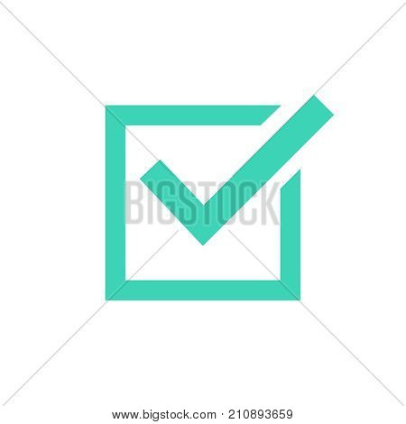 Tick icon vector symbol green checkmark isolated on white background checked icon or correct choice sign check mark or checkbox pictogram