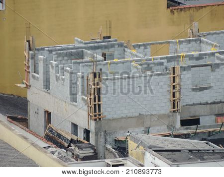 Aerial view of a house under construction
