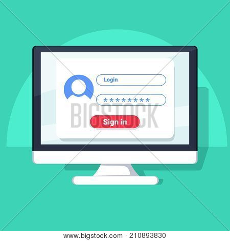Sign in page on computer screen. Desktop computer with login form and sign in button. User account. Modern concept for web banners web sites infographics. Creative flat design vector illustration