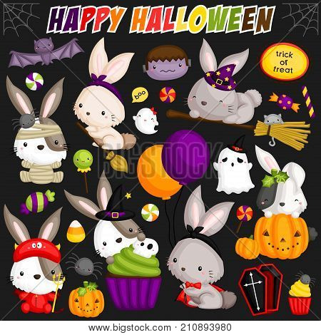 Halloween Rabbit vector set with many items