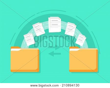 File transfer. Two folders transferred documents. Copy files, data exchange, backup, PC migration, file sharing concepts. Flat design graphic elements. Vector illustration