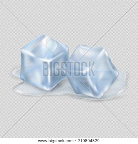 Two cool and shiny ice cubes lying in small amount of melted water isolated on transparent background vector illustration.