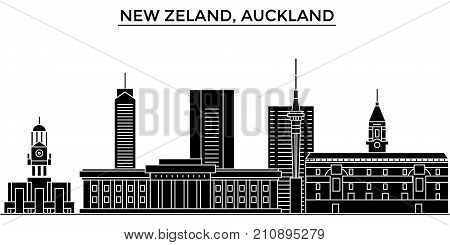 New Zeland, Auckland architecture vector city skyline, black cityscape with landmarks, isolated sights on background