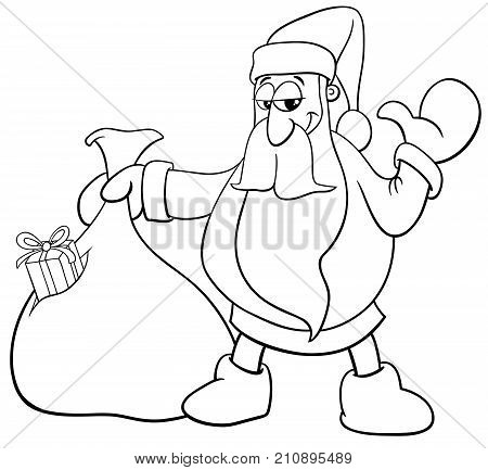 Santa Claus With Sack Of Gifts Coloring Book