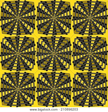 Abstract geometric seamless background. Regular intricate squares pattern yellow, ocher and black.