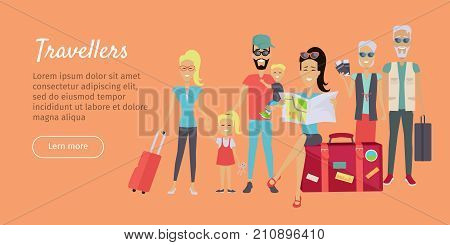 Happy family trip traveling banner. Family vacation. Grandparents and parents with their children going for summer vacations. Family on vacation. Ready to travel. Summer holiday. Website template