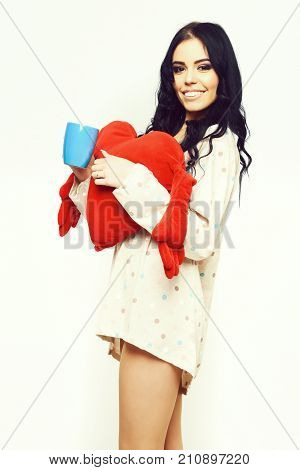 Smiling Pretty Sexy Girl With Red Valentines Pillow And Cup