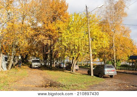 New Ladoga, Russia - 14 October, Embankment of the Ladoga Flotilla, 14 October, 2017. Bright autumn colors in the provincial cities of Russia.