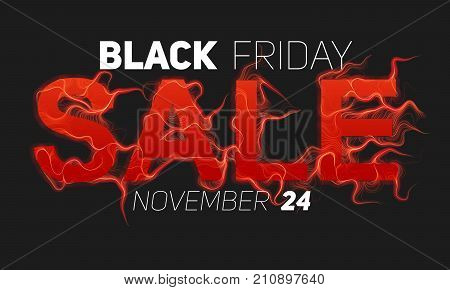 Vector Black Friday Sale text with red fire flames background. Wavy threads from red letters. Hot Black friday sale illustration for flyers, cards, promo materials etc. Thin curly flames. eps10.
