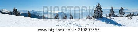 Panoramic View Snow Capped Mountains, European Beautiful Winter Mountains, Slope For Skiers, Alpine Mountains, Landscape For Cross Country Skiers, Winter Panorama Alps, Beautiful Winter Mountain Landscape