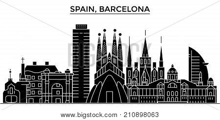 Spain, Barcelona architecture vector city skyline, black cityscape with landmarks, isolated sights on background