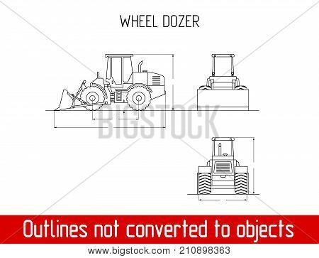 wheel dozer overall dimensions outline drawing template illustration