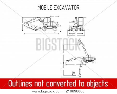 typical mobile excavator overall dimensions blueprint template illustration