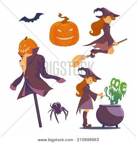 Set of Halloween. A witch with a broom witch flying on a broom evil pumpkin cauldron potion spider with a cross.Jack of the Lantern as a scarecrow is dressed in a jacket and stuffed with leaves.