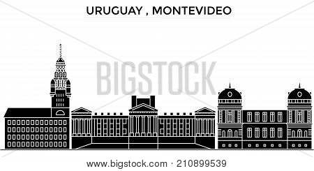 Uruguay , Montevideo architecture vector city skyline, black cityscape with landmarks, isolated sights on background