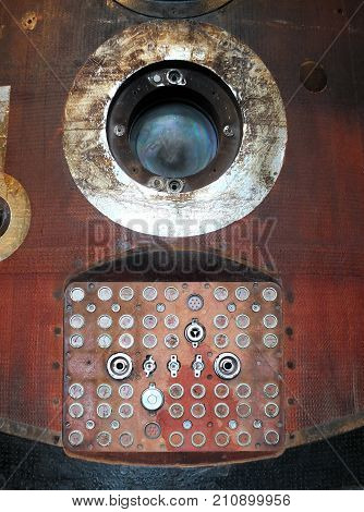 soyuz capsule window and connecting panel with reentry burns and scorch marks