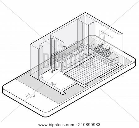 Outlined bathroom with wooden floor in mobile phone. Wire isometric shower enclosure, sliding glass doors in communication technologies. Bathroom sinks with mirror. Vector sanitary washroom equipment. poster