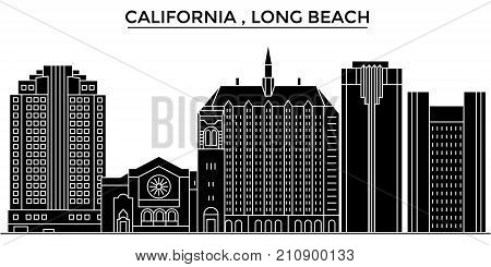 Usa, California  Long Beach architecture vector city skyline, black cityscape with landmarks, isolated sights on background
