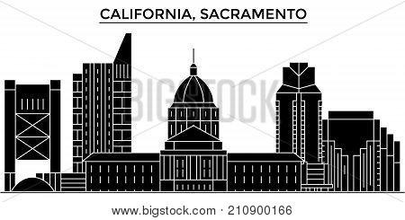 Usa, California  Sacramento architecture vector city skyline, black cityscape with landmarks, isolated sights on background