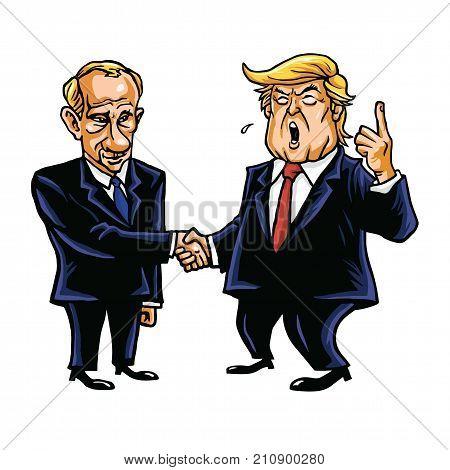 Donald Trump Shakes Hands with Vladimir Putin. Cartoon Caricature Vector Illustration. October 26, 2017