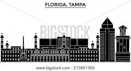 Usa, Florida, Tampa architecture vector city skyline, black cityscape with landmarks, isolated sights on background