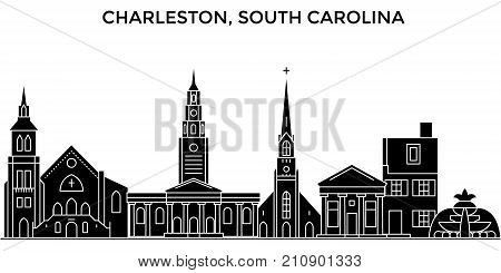 Usa, Florida, Tampa City architecture vector city skyline, black cityscape with landmarks, isolated sights on background