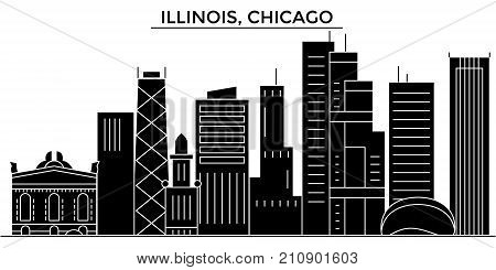 Usa, Illinois, Chicago architecture vector city skyline, black cityscape with landmarks, isolated sights on background