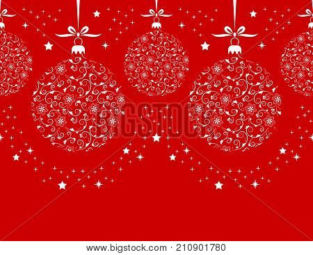 vector border with christmas balls isolated on red background