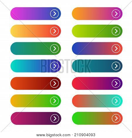 Empty web buttons. Brightly designed collection, functionality working on a webpage menu. Vector flat style cartoon illustration isolated on white background