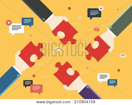 Hands holding puzzle pieces and and message icons with feedback texts. Concept of teamwork cooperation partnership success team business strategy and feedback. Flat vector illustration.