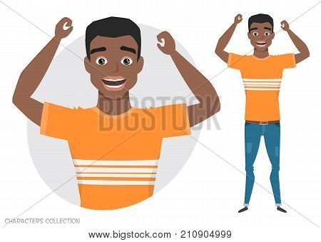 The guy is happy and smiling. Cartoon style black african american man. Emotion of joy and glee on the man face. The man portrait. Men in a casual cloth