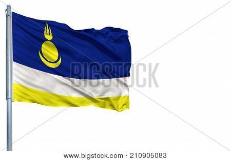 National flag of Buryatia on a flagpole, isolated on white background.