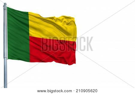 National flag of Benin on a flagpole, isolated on white background.