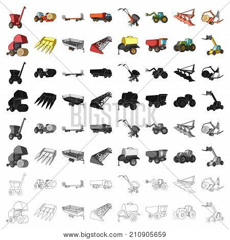 Trailer, dumper, tractor, loader and other equipment. Agricultural machinery set collection icons in cartoon style vector symbol stock illustration .