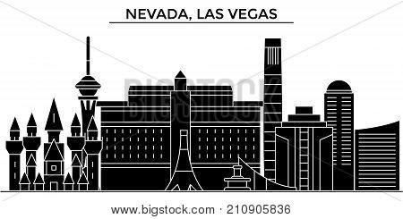 Usa, Nevada, Las Vegas architecture vector city skyline, black cityscape with landmarks, isolated sights on background