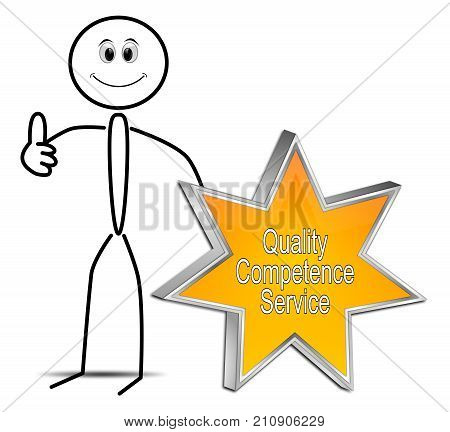 Stickman with orange Quality Competence Service Star Button - 3D illustration