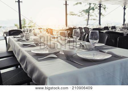 dinning table in the restaurant, interior of resort