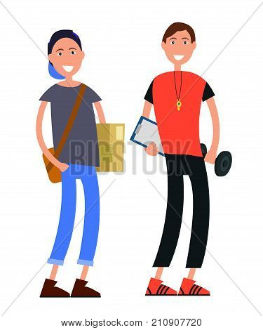 Courier in cap, with bag and box and coach in sportsuit with whistle, notepad and barbell isolated on white background vector illustration.